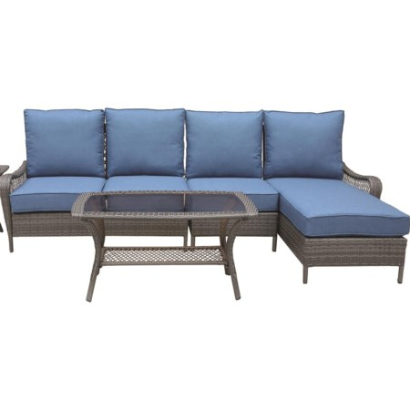 Outdoor Seating Set With Chaise And Cocktail