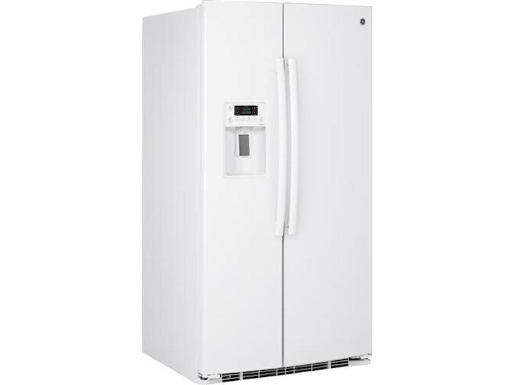 GE Appliances Side by Side Refrigerators - 201425.4 Cu. Ft. Side-By-Side Fridge