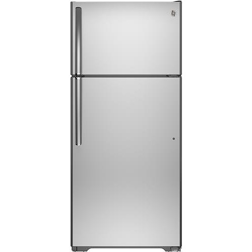 GE Appliances Top-Freezer Refrigerators 15.5 Cu. Ft. Top-Freezer Refrigerator with Adjustable Spillproof Glass Shelves, Rounded Doors and Smooth Handles