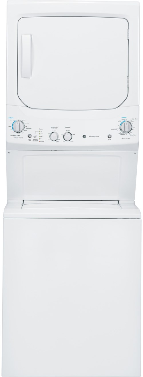 GE Appliances Washer and Dryer Sets 3.2 cu. ft. Washer and 5.9 cu. ft. Gas Dryer Unitized Spacemaker®