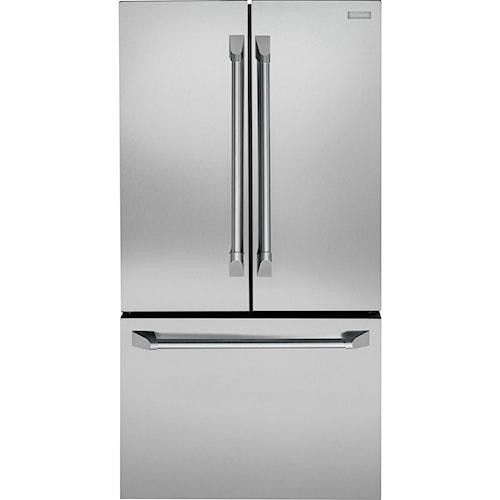 GE Monogram Freestanding Refrigeration ENERGY STAR® 23.1 Cu. Ft. Counter-Depth French-Door Refrigerator with Spill Proof Glass Shelves