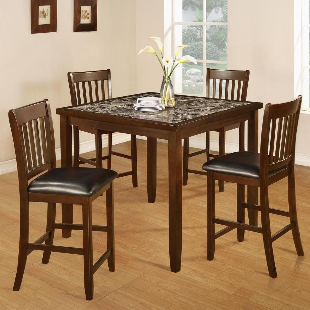 Generation Trade Odessa 5 Piece Pub Set With Faux Marble Top Table