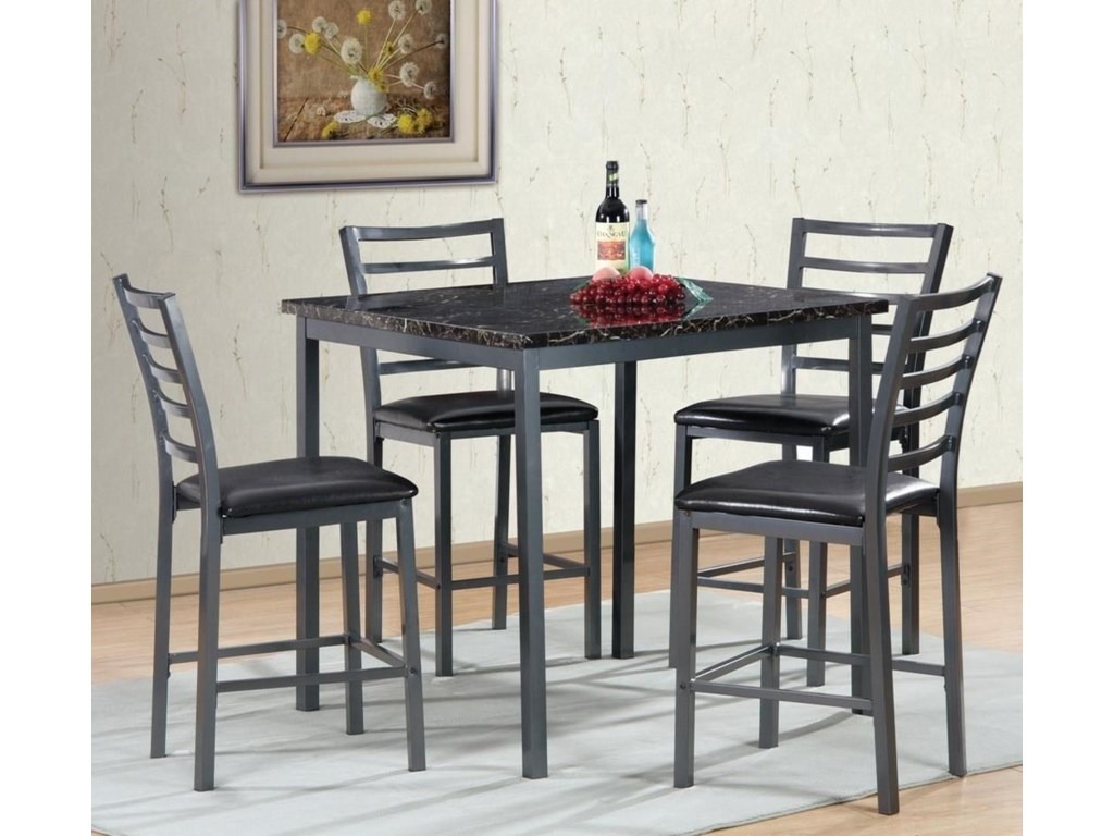 Generation Trade Shelton 5 Piece Pub Table Set With Faux Marble Top
