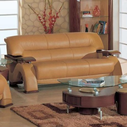 Global furniture contemporary leather sofa with