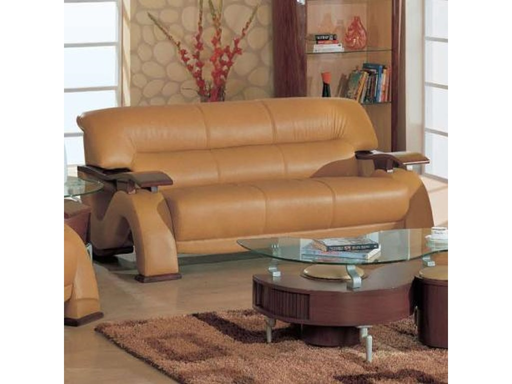 Global Furniture 2033 2033-BR-S Contemporary Leather Sofa with ...
