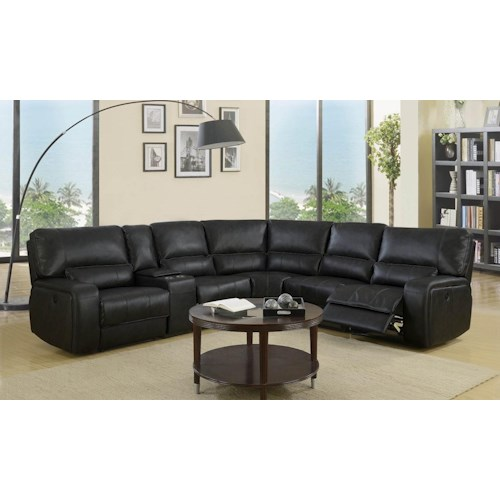 Global Furniture 7096 7096- Black Sectional Sofa with Power Recliner