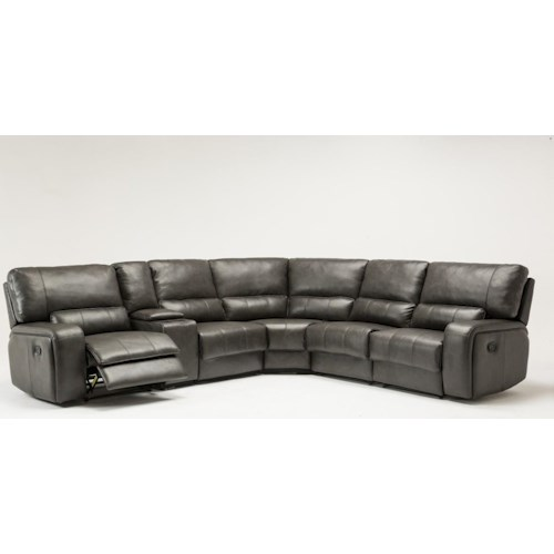 Global Furniture 7096 7096- Gray Sectional Sofa with Power Recliner
