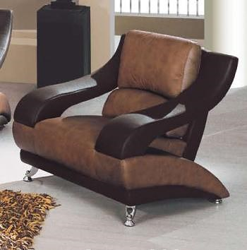 Global Furniture 928 Contemporary Leather Chair with Metal Feet