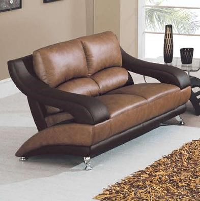 Global Furniture 928 Contemporary Leather Love Seat with Metal Feet