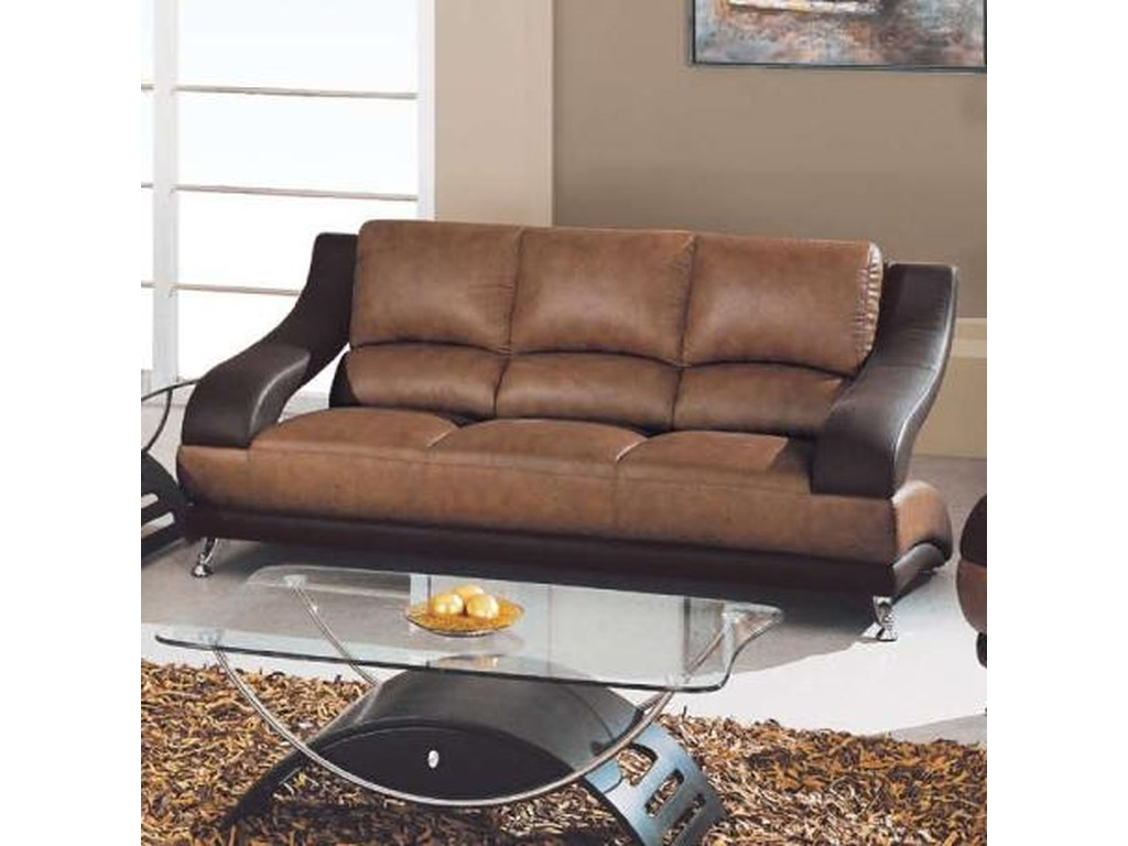 Global Furniture 928 Contemporary Leather Sofa with Metal Feet ...
