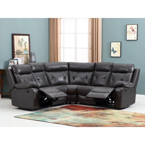 Global Furniture 9443 9443- Dark Gray Reclining Sectional Sofa