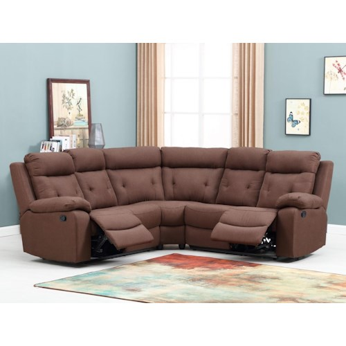 Global Furniture 9443 9443- Brown Reclining Sectional Sofa