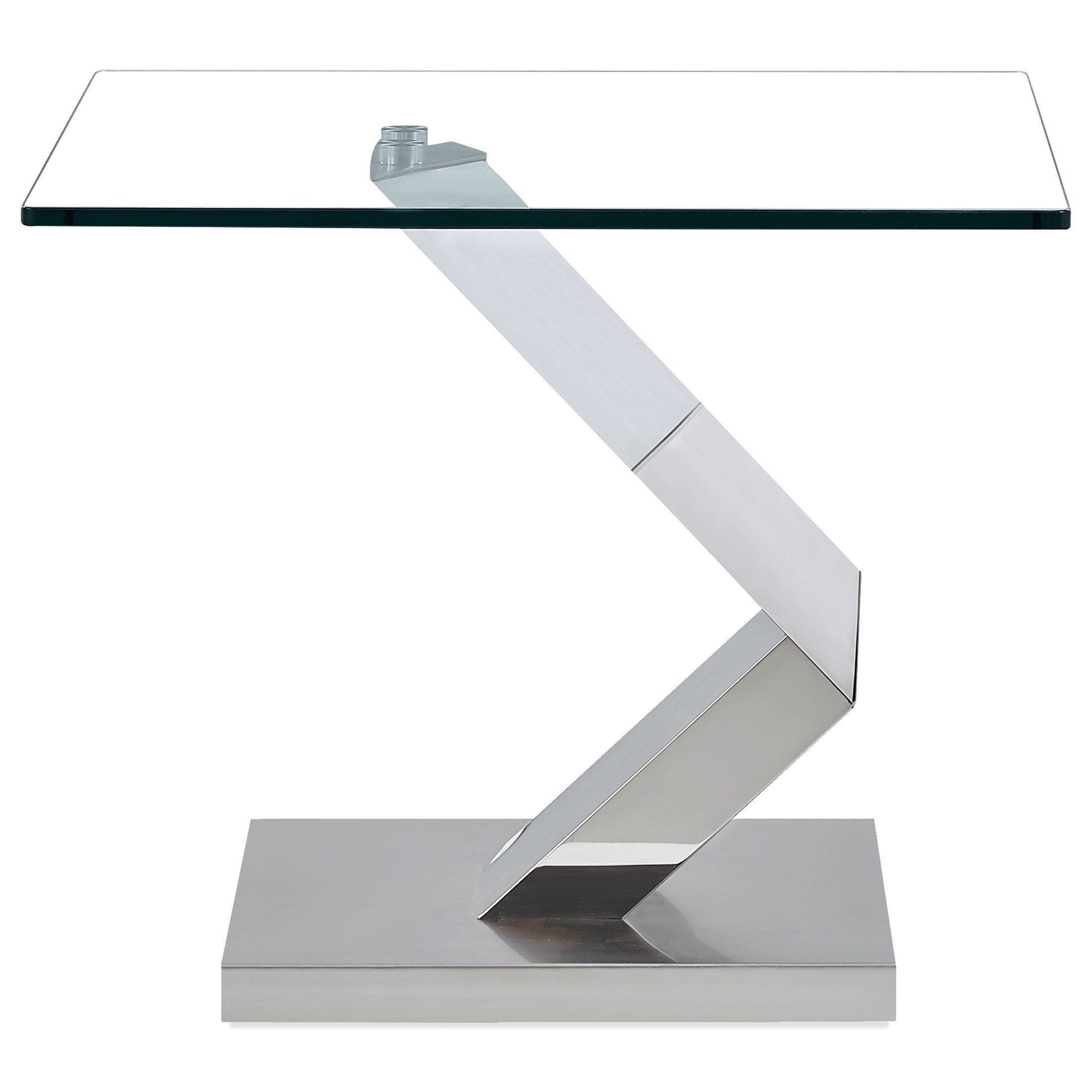 Contemporary Glass and Stainless Steel End Table