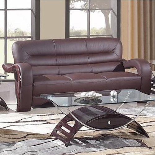Global Furniture 992 Modern Leather Sofa with Curved Arms