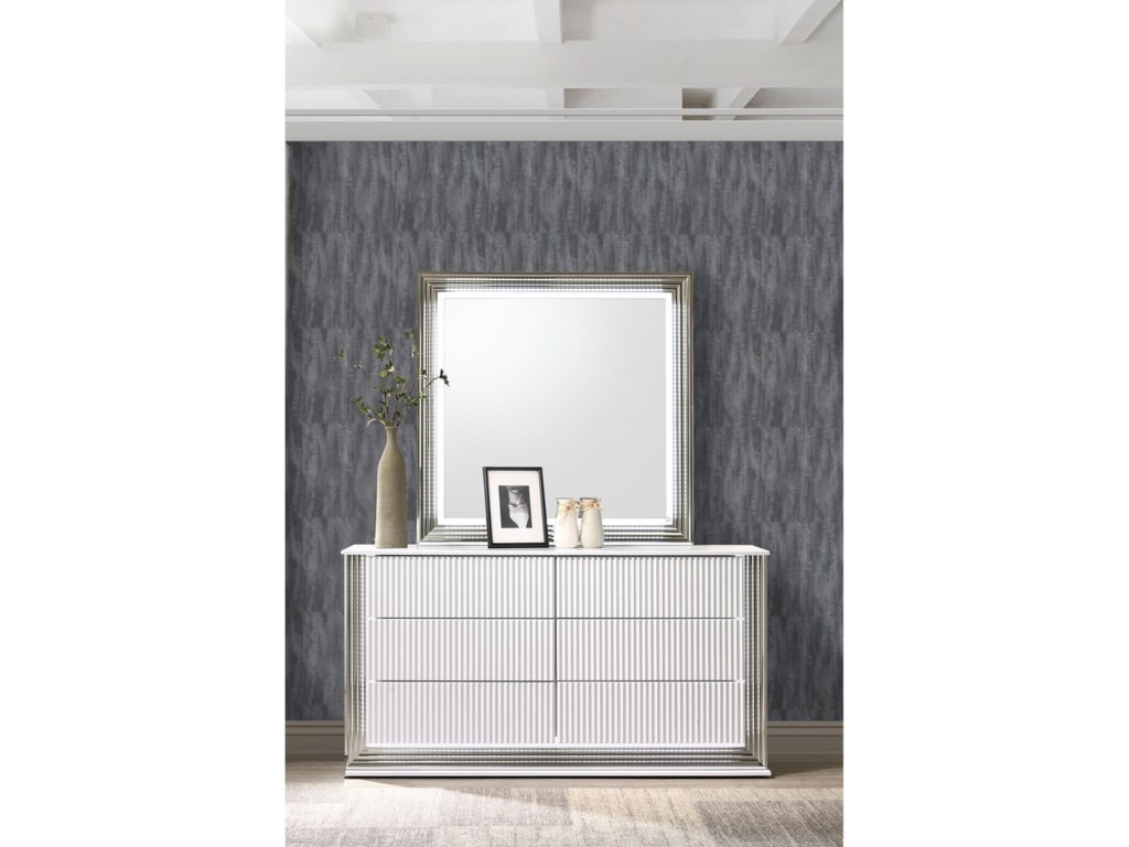 Global Furniture AspenDresser and Mirror Set