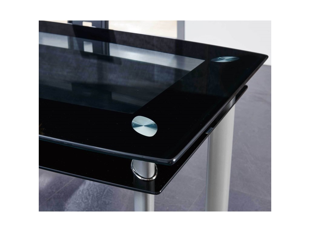 Global Furniture D1058Glass Dining Table With Black Trim