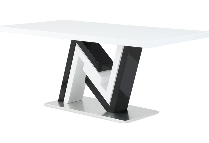 Global Furniture D4163 High Gloss Dining Table With Unique N Shaped Base Rooms For Less Dining Tables