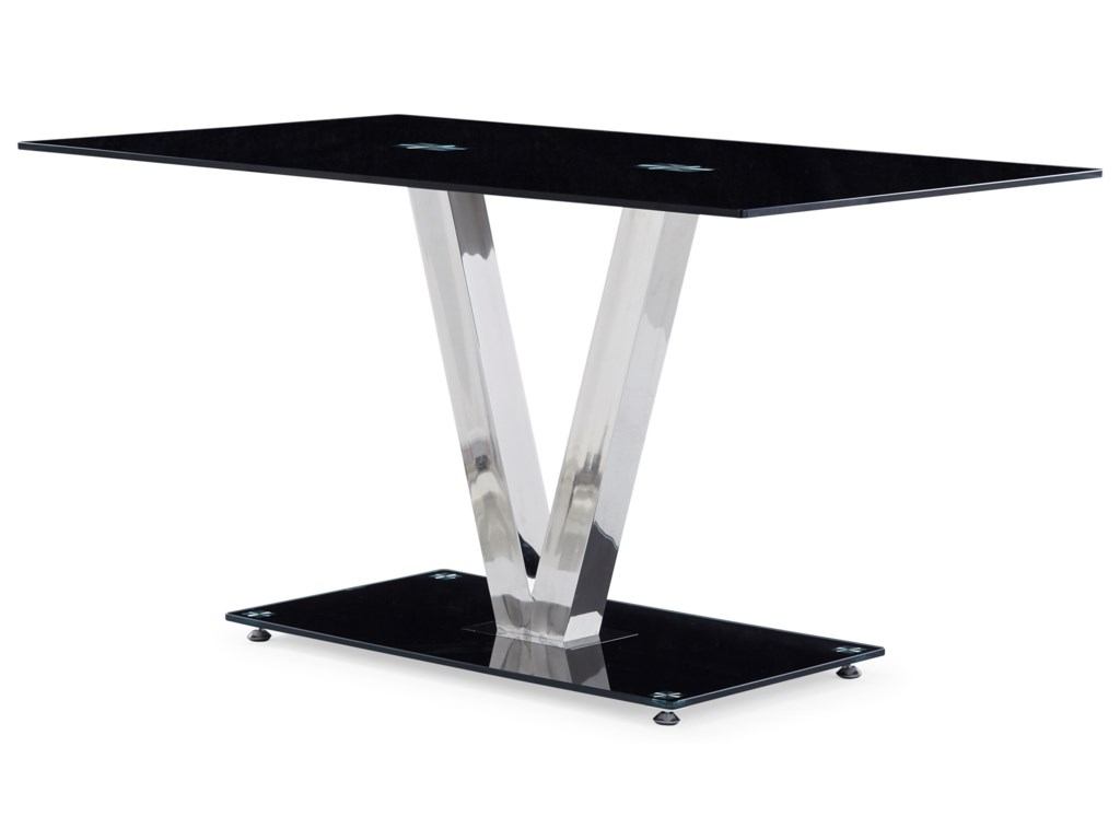 Global Furniture D551Glossy Dining Table with V-Shape Base