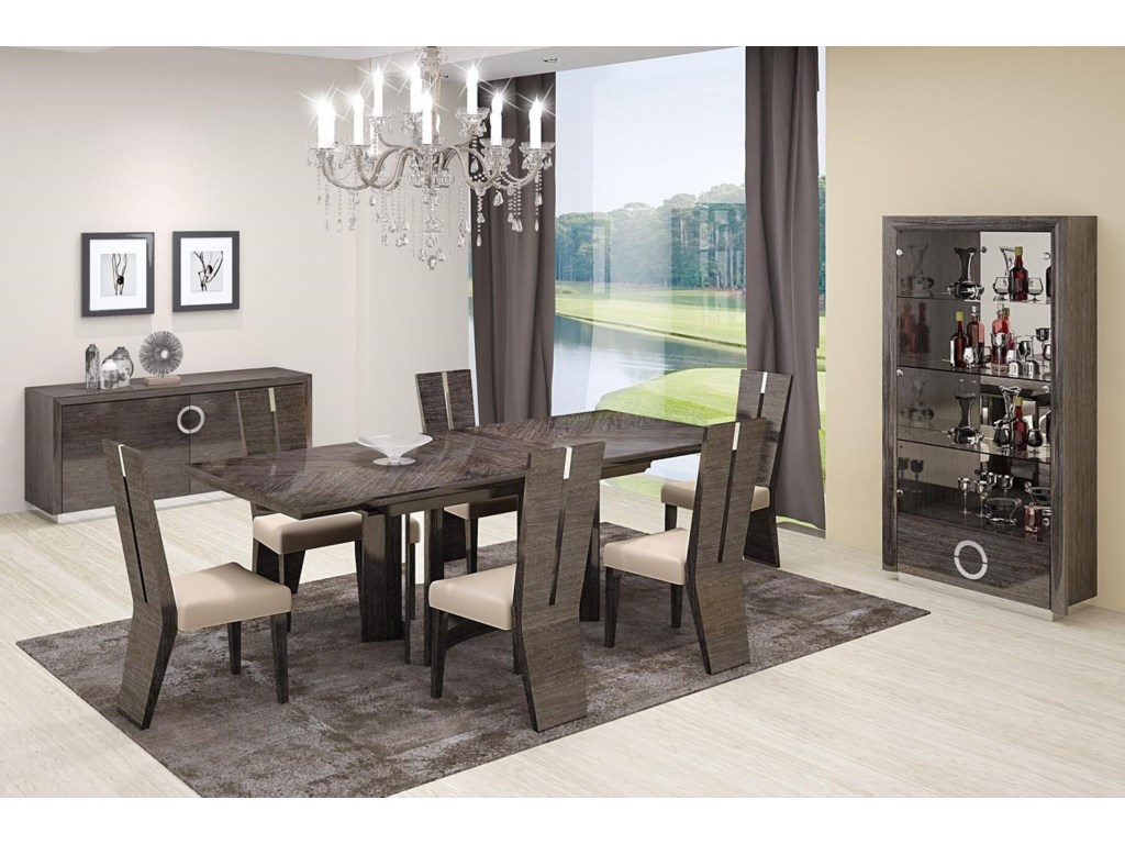 Global Furniture D59Gray Dining Table and 6 Chairs