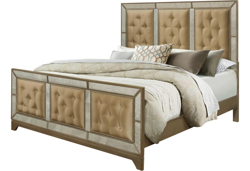 Global Furniture Portofino Old Hollywood Upholstered King Bed With Mirror Trim Value City Furniture Upholstered Beds
