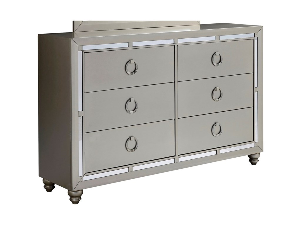 Furniture Riley Glam 6 Drawer Dresser