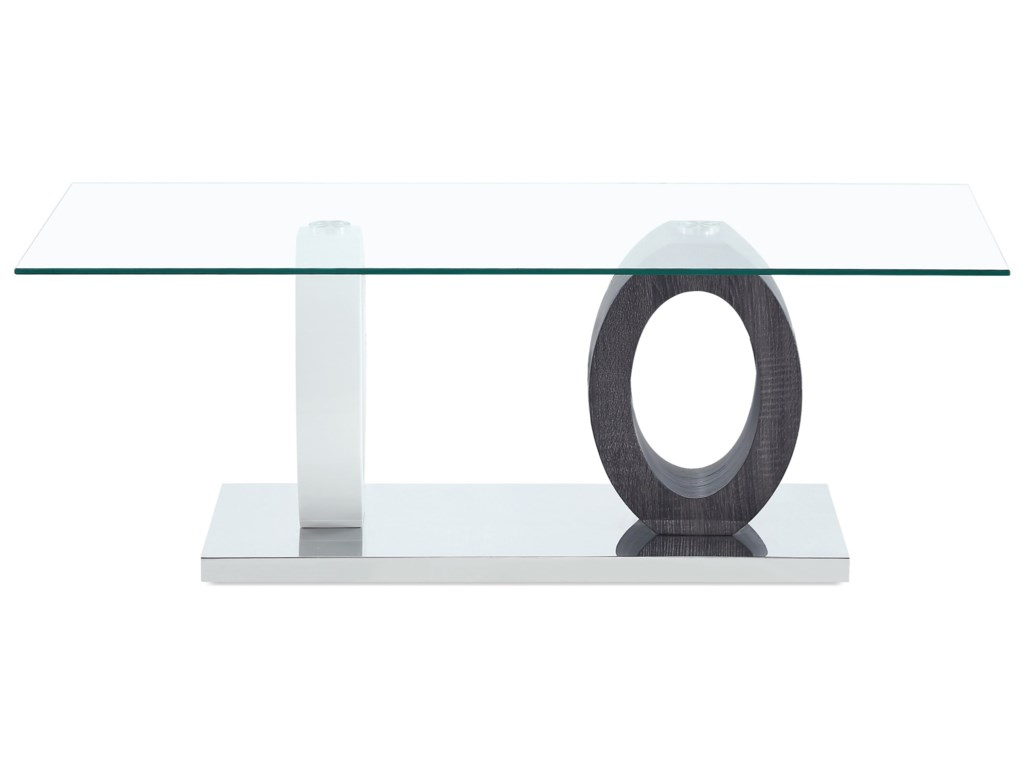 Global Furniture T1628Dual Oval Base Style Cocktail Table