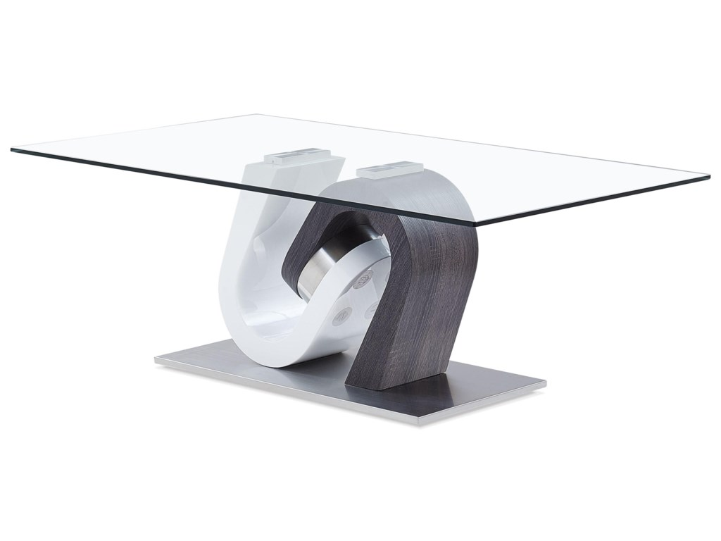 T4127 Ultra Modern Coffee Table With Unique Pedestal By Global Furniture
