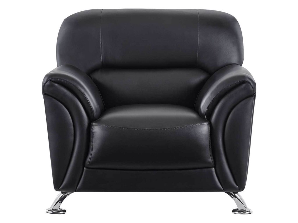U9103 Contemporary Faux Leather Chair with Splayed Chrome Legs by Global  Furniture at Value City Furniture