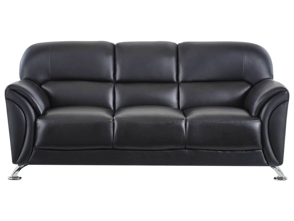 U9103 Contemporary Faux Leather Sofa With Splayed Chrome Legs By Global Furniture At Value City