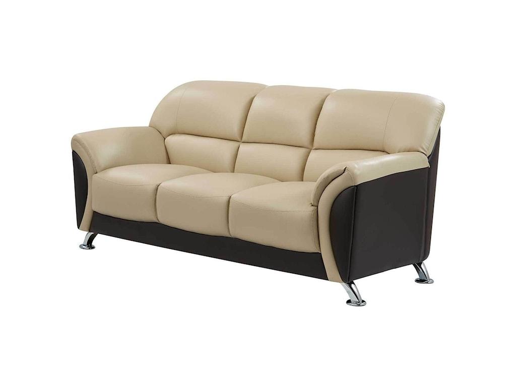 Global Furniture U9103Sofa with Chrome Legs