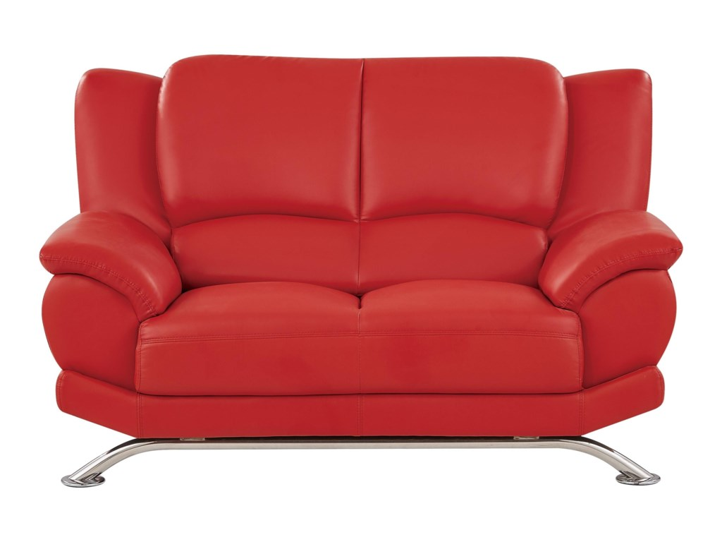 U9908 Loveseat with Chrome Legs by Global Furniture at Value City Furniture