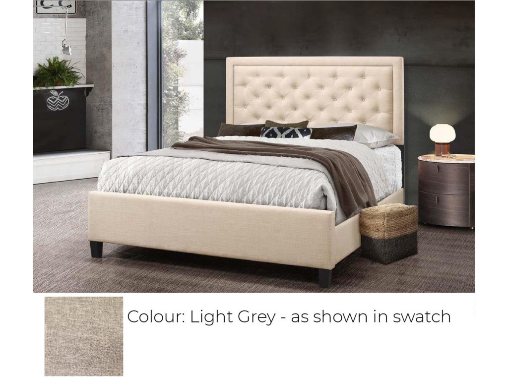 Global Trading Unlimited B622 - Ready to AssembleUpholstered Bed - Light Grey