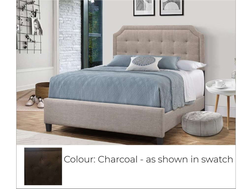 Global Trading Unlimited B623 - Ready to AssembleUpholstered Bed - Charcoal