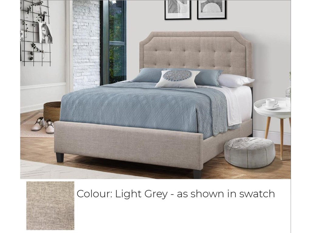 Global Trading Unlimited B623 - Ready to AssembleUpholstered Bed - Light Grey