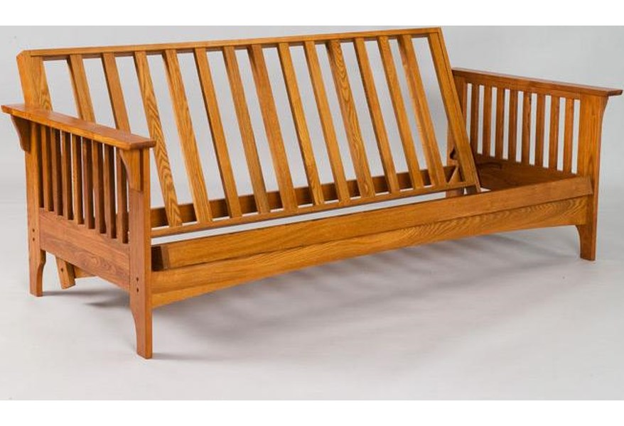 This Full Sized Futon Frame Features 3 Support Braces On The Back And Seat Deck Solid Hardwood Construction In A Natural Finish It Reclines Into