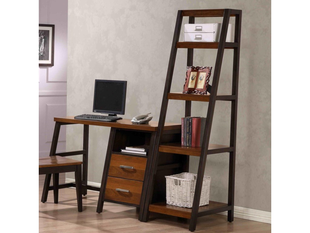 Waco Desk With 2 Drawers And Shelf Attached Bookshelf Belfort Furniture Single Pedestal