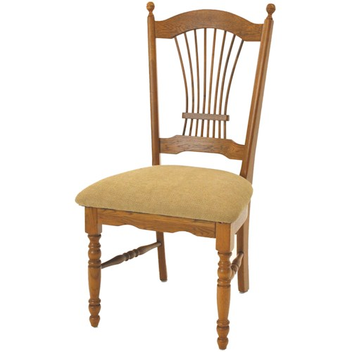 GS Furniture Classic Oak Dining Sheaf Back Side Chair with Seat Cushion