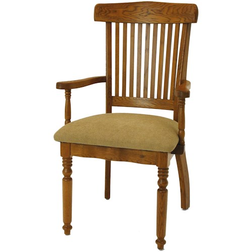 GS Furniture Classic Oak Grand Dining Arm Chair with Seat Cushion