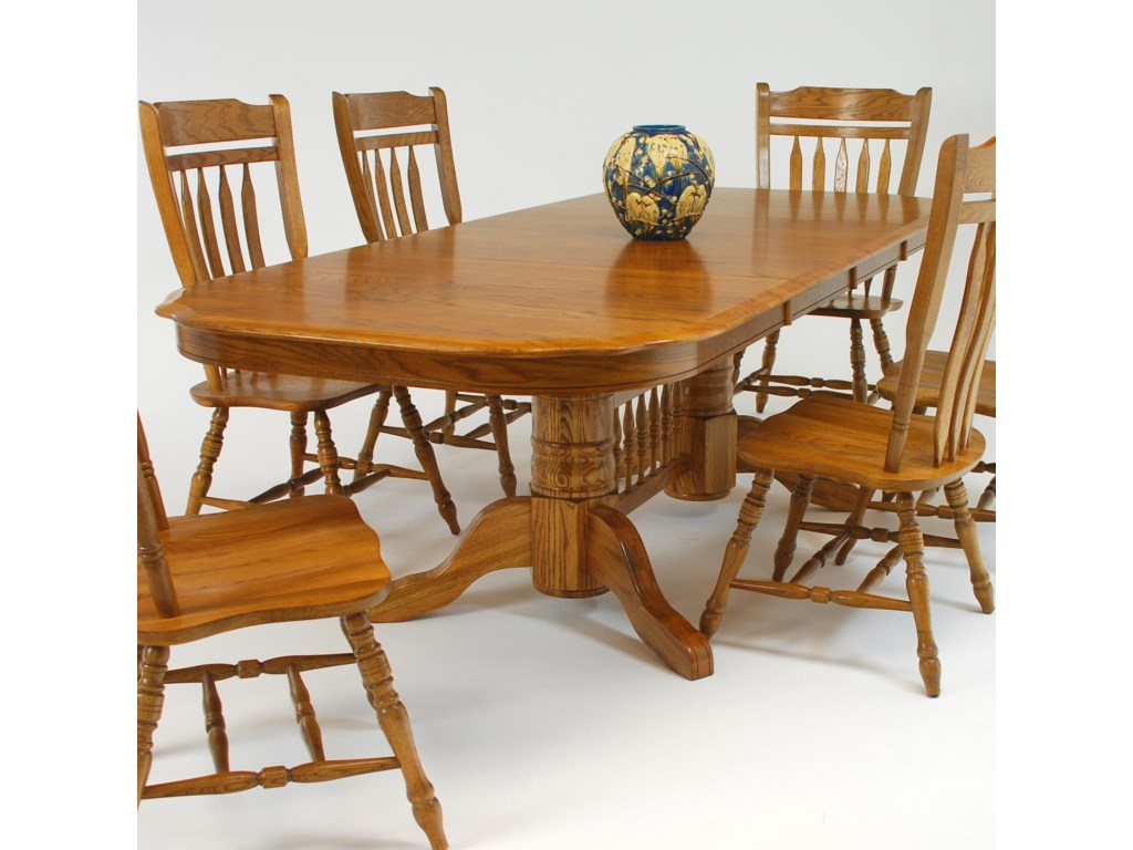 GS Furniture Classic OakRectangular Dining Table with 18