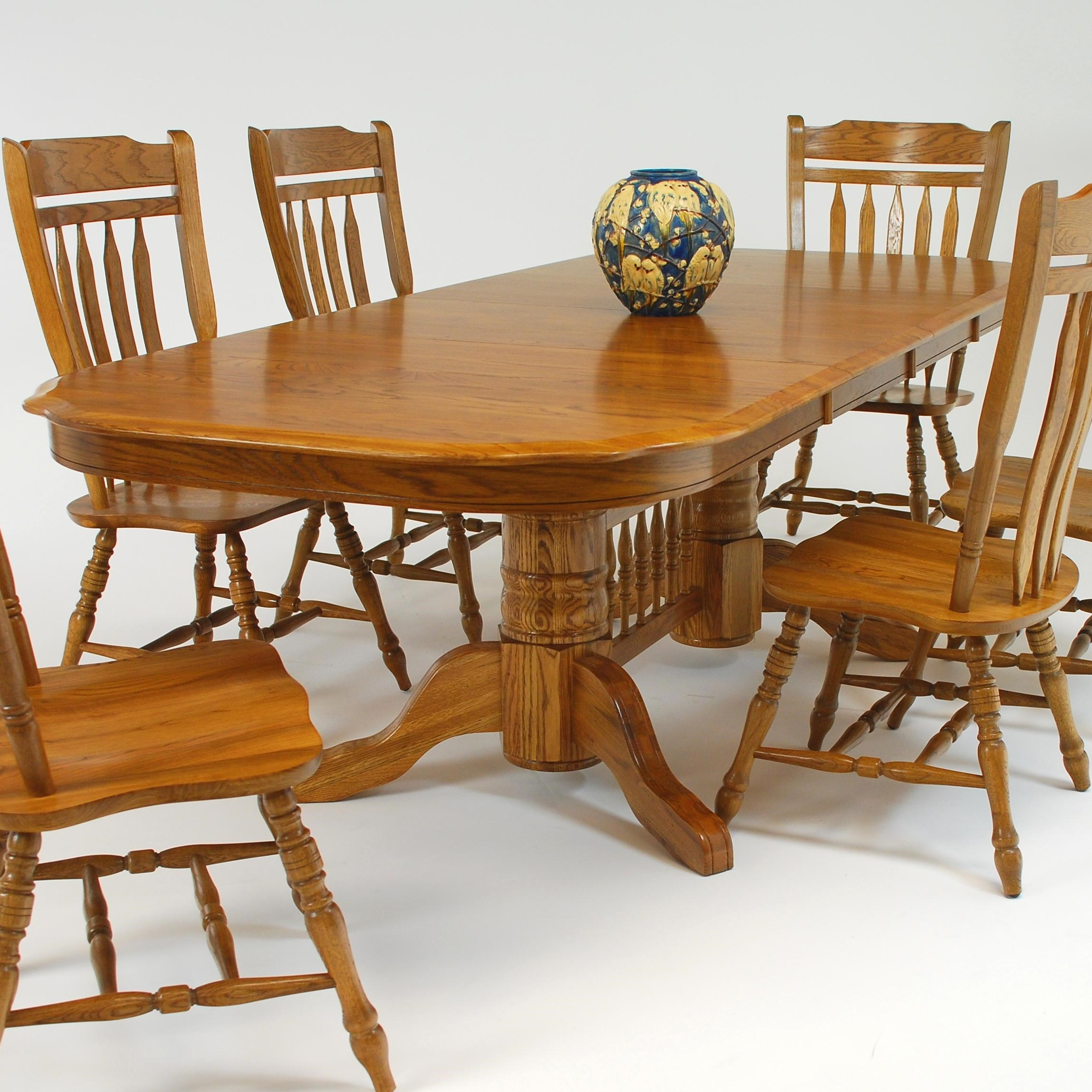 Merveilleux GS Furniture Classic Oak Trestle Dining Table With Two 18
