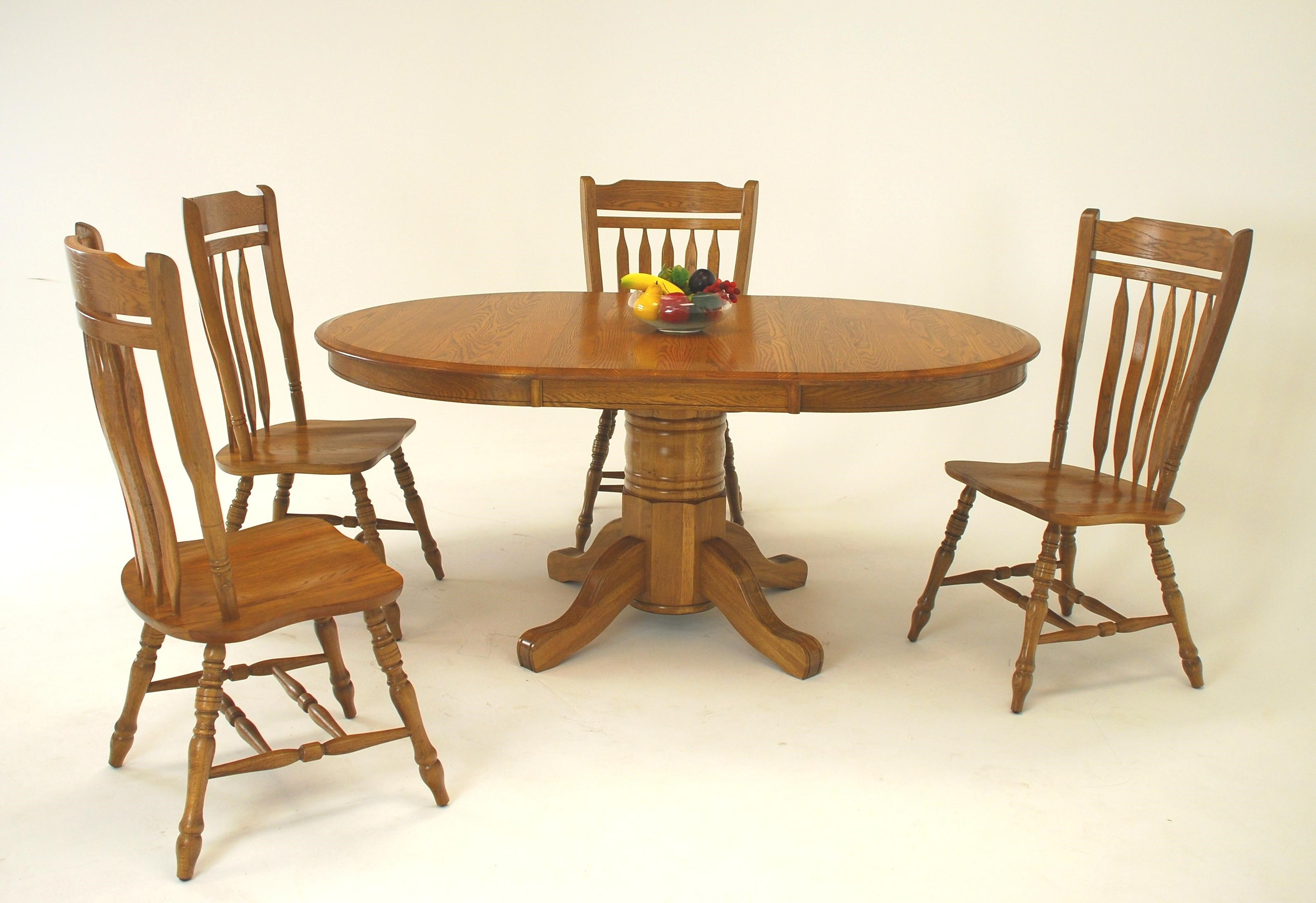 GS Furniture Classic Oak Casual 5 Piece Oval Dining Table And Schoolhouse  Chair Set