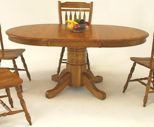 GS Furniture Classic Oak Oval Pedestal Dining Table with 21