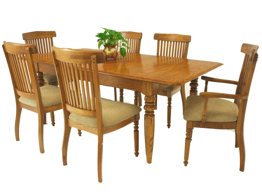 GS Furniture Classic Oak7-Piece Dining Table & Chair Set