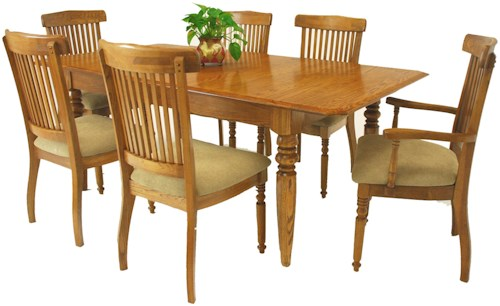 GS Furniture Classic Oak 7-Piece Solid Oak Extension Dining Table & Grand Chair Set