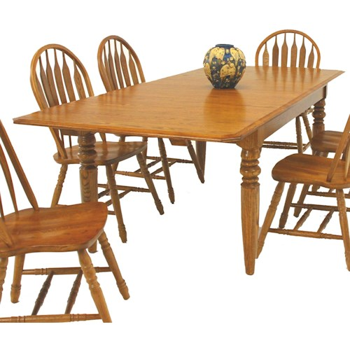 GS Furniture Classic Oak Solid Oak 4-Leg Dining Table with Two 15