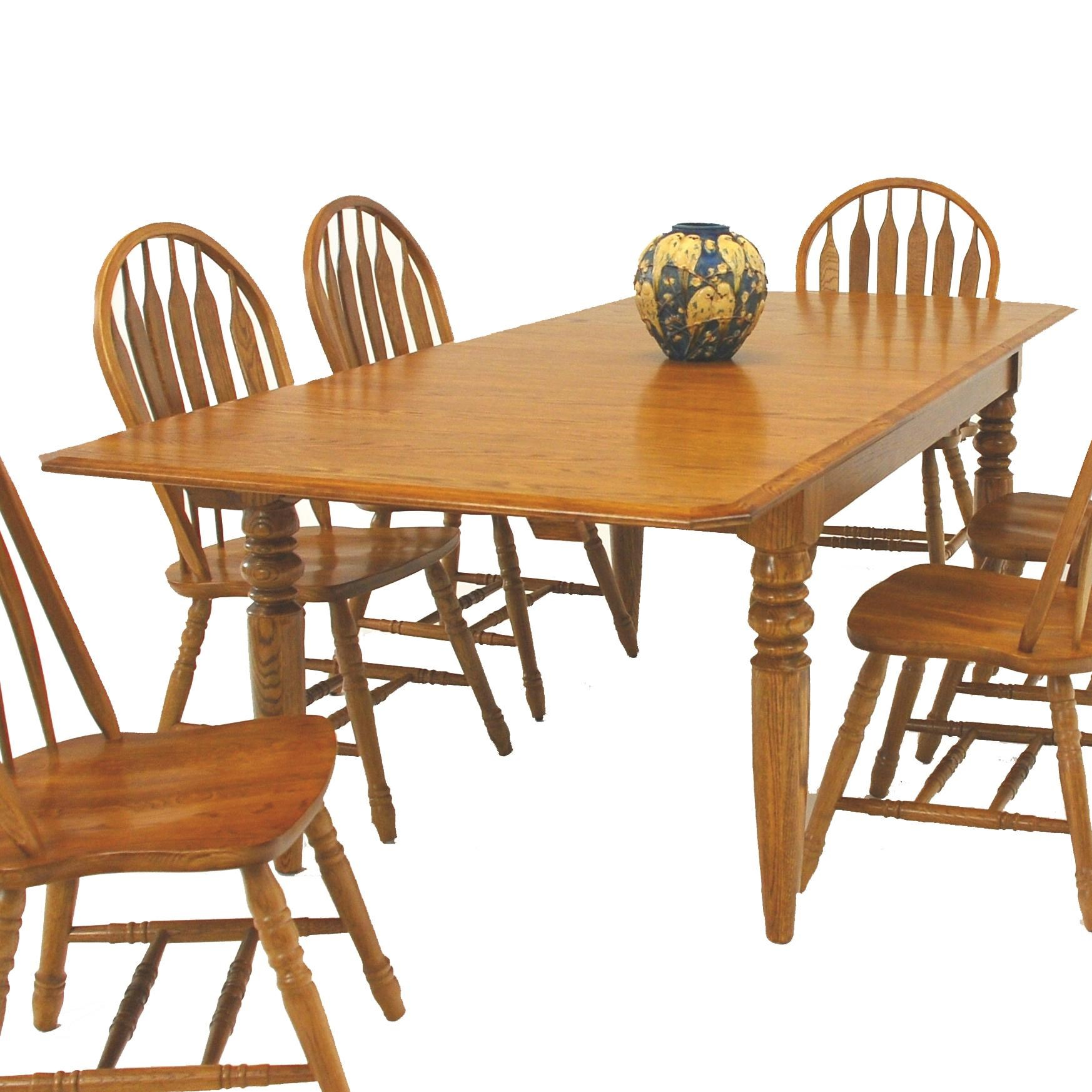 GS Furniture Classic OakRectangular Dining Table With Two 15 ...