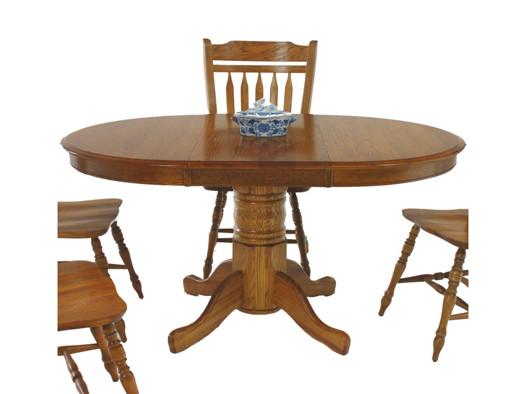 GS Furniture Classic OakOval Pedestal Table with 18