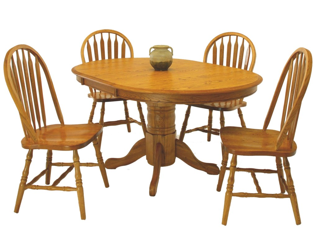 GS Furniture Classic Oak5-Piece Round Table & Side Chair Set