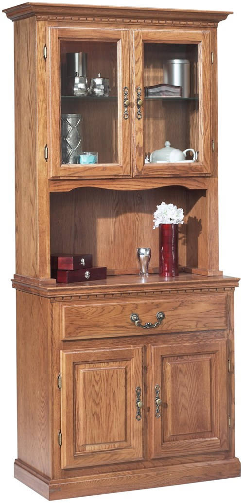 GS Furniture Classic Oak Casual China Cabinet with 1 Drawer