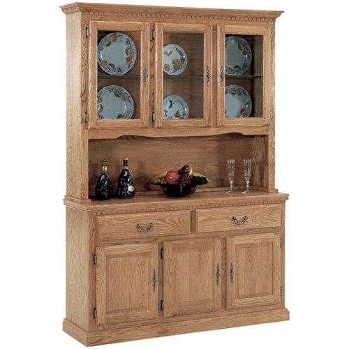GS Furniture Classic Oak Casual China Cabinet with Three Doors